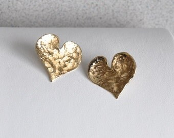 14K Yellow Gold Textured Heart Post Earrings