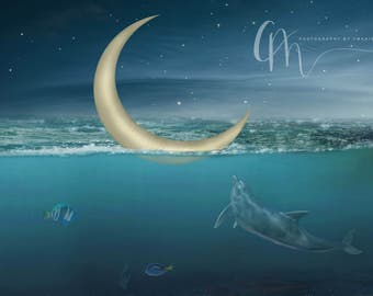 Moon at sea digital background