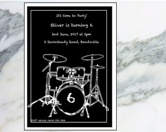 Drums party personalised printable invitation