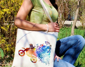 Motocross tote bag - Off-road shoulder bag - Fashion canvas bag - Colorful printed market bag - Gift Idea