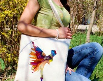 Ballerina tote bag - Ballet shoulder bag - Fashion canvas bag - Colorful printed market bag - Gift Idea