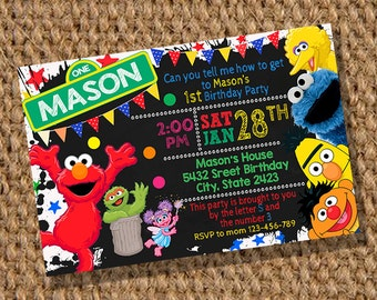 Elmo Birthday,  Sesame Street Invitation,  Elmo Birthday Invitation,  Sesame Street Birthday Invitation, Elmo Digital Printable, Elmo