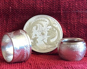 Australian Dragon, Phoenix .999 Silver Coin Ring