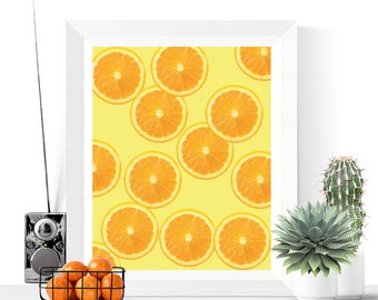 Orange Slices Art Printable | Oranges | Art Printable | Modern Art | Fruit Art | Kitchen Art | Tropical | Food Art | Summer