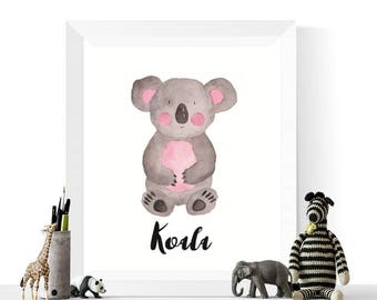 Koala Print |  Koala Watercolor Printable | Australian Animals | Koala Art | Nursery Art | Watercolour Art | Koala Bear