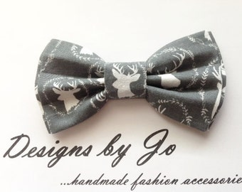 Bow Tie,Mens Bow Tie, Bowtie,Suit Bowtie, Grey-White Deer,Prom Bow Tie, Wedding Bow Tie, Mens Fashion Accessories, Bow Tie, Mens Bowtie M647