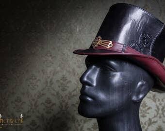 Ornate Leather TopHat black,  Size 55-56,5cm, Single Piece