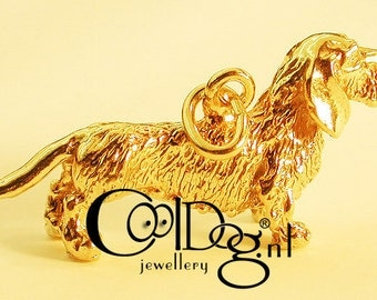 Dachshund pendant solid Sterling Silver or silver with a layer of gold: 18 KT. gold plated
