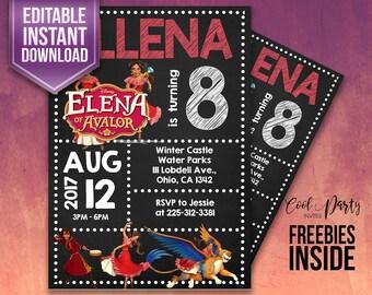 Elena of Avalor invitation, Elena of Avalor birthday invitation, Elena of Avalor party, Elena of Avalor party invitation, instant download