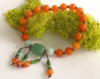 Pumpkin: 18-bead Mini Mala / Nenju / Juzu / Prayer Beads