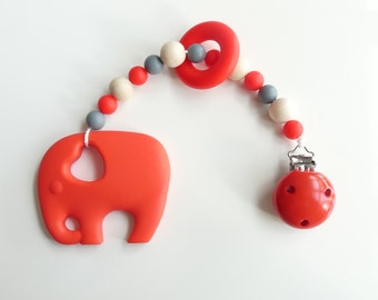 Wood biting chain Silicon elephant Red