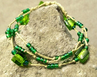 Adjustable Bracelet - Multi Strand Bracelet - Beaded Bracelet - Hemp Bracelet - Beaded Hemp Bracelet - Glass Bead Bracelet - Glass Beads