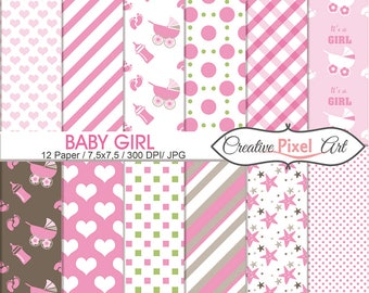 Digital Paper Baby Girl  Digital Download Papers Scrapbooking paper , For personal and small business use