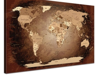 "LanaKK - world map canvas with Cork rear wall to the pin of the destinations - ""world map antique"" - German - art print wall in Brown"