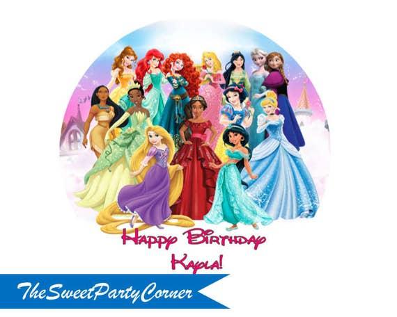 Princess Birthday Cake Topper Edible Print Sugar Sheet
