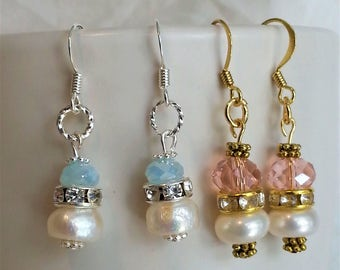 Natural Pearl and Crystal Drop Earrings --- SALE 20% off