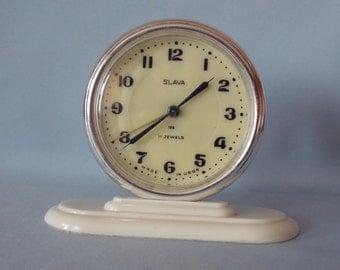Soviet alarm clock SLAVA. Vintage Working mechanical table clock USSR.