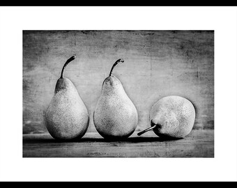 Wall Art - Fine Art textured landscape black & white print of Three Pears in Row - Original food photography by Cath Lowe