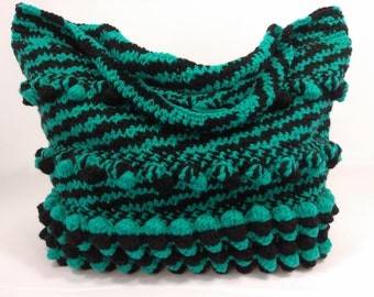 Bubble Stitch/Zebra spiral stitch handmade crochet ladies handbag