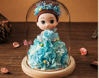 Baby Gift Glass Dome Display Preserved Real Flowers