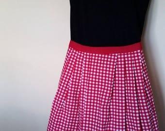 Reversible-Red Checkered and Polka Dot Apron