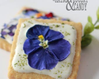 Maine Fudgery Edible Flower Iced Shortbread Cookie