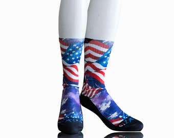 Handmade Sublimated Socks style Georgia Blue