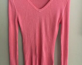 VNTG MARCS female light pink/coral V neck chord sweater