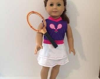18 Inch Doll Clothes White and Pink and Purple Tennis Outfit With Racket and Purple White Dennis Shoes Fits Like American Girl Doll Clothes