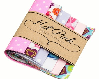 """50 x 'Sweetshop' Patchwork Squares. Beautiful Fabric Charm Pack 4"""" or 5"""""""