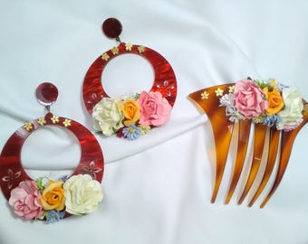Earrings and flamenco comb with coloured acetate base, Carey color flowers, flamenco earrings, Valentine's Day gift.