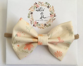 Bunnys & Flowers Bow | Headband