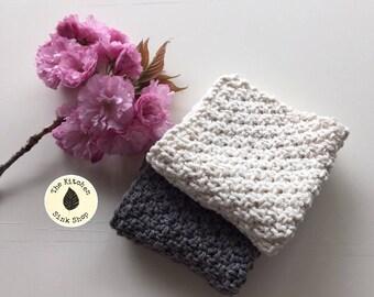 QUARRY Knit Cloths | Set of 2 | Hand Knit | Cotton | Neutrals | Grey | Beige | Dishcloth | Washcloth | Kitchen | Bath