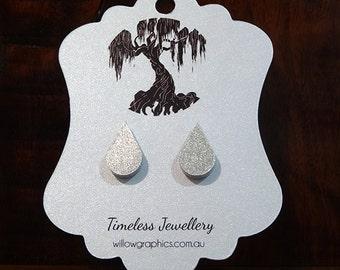 Silver Teardrop Earrings Studs