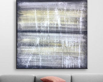 Acrylic painting on canvas Loft Painting Abstract painting Grey Picture Contemporary art Modern art Wall design Minimalism Marble texture