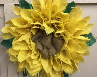 Large burlap sunflower wreath