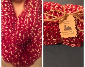Thick red knitted scarf