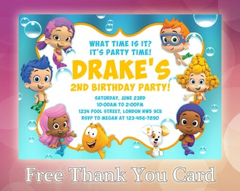 Bubble Guppies Invitation / Bubble Guppies Birthday / Bubble Guppies Invite / Bubble Guppies Birthday Party / Bubble Guppies Printable/ BG02