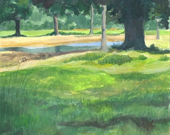 """Reflections and Trees, Small Nature Painting, Small Print, Watercolor Landscape Painting, 6""""X10"""" Print"""