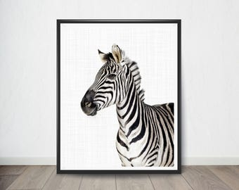 Zebra Print, Animal Nursery Print, Baby Animal Portrait, Nursery Decor,  Printable Digital Download, Boy Gift, Woodland Animal Print