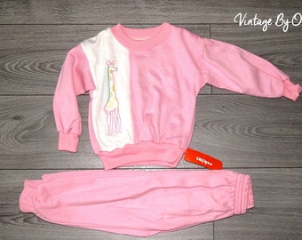 Vintage Girls Track Suit ,Age 3 Approx ,Pink Fleecy,Lined, Giraffe Motif,Retro,