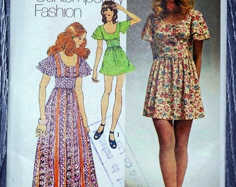 Simplicity Boho Maxi or Mini Dress Pattern with Flared Sleeves, Scoop Neckline, and Trim Options, Simplicity Sewing Pattern 9725