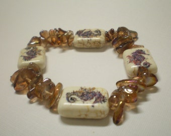 Seahorse Stone and Glass Bracelet