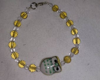 Yellow owl and crystal bracelet