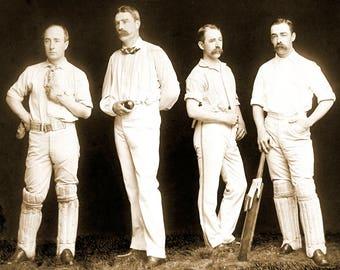 "1886 Cricket Players Vintage Photograph 8.5"" x 11"""