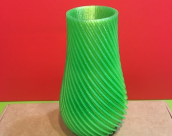 Green striped vase PLA printed in 3D