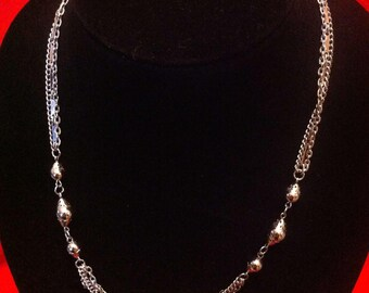 Silver Triple Tier Necklace with Silver Beads Designed