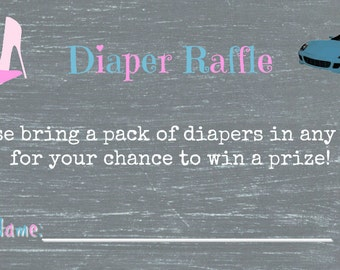 Wheels or Heels Gender Reveal Diaper Raffle Ticket