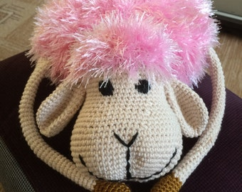 Decorative knitted toy handmade sheep Becky
