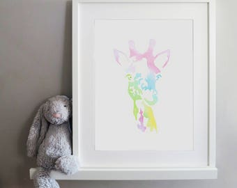 Giraffe Rainbow Pastel Print